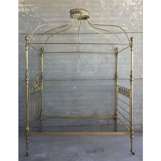 Late 19th Century 19th Wide Brass Four Poster Bed With Bird Castings, Ornamental Motifs and Crown For Sale - Image 5 of 13