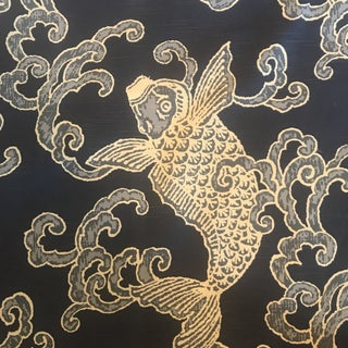 Ronnie Gold Design Fish Fabric For Sale