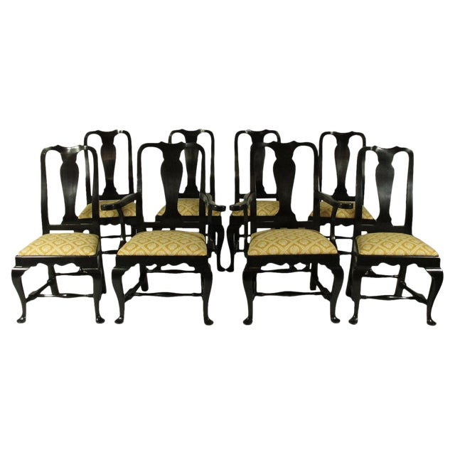 Black Lacquer Dining Chairs - Set of 8 For Sale