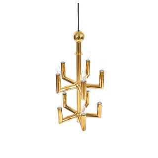 Stunning Brass Chandelier by Florian Schulz For Sale