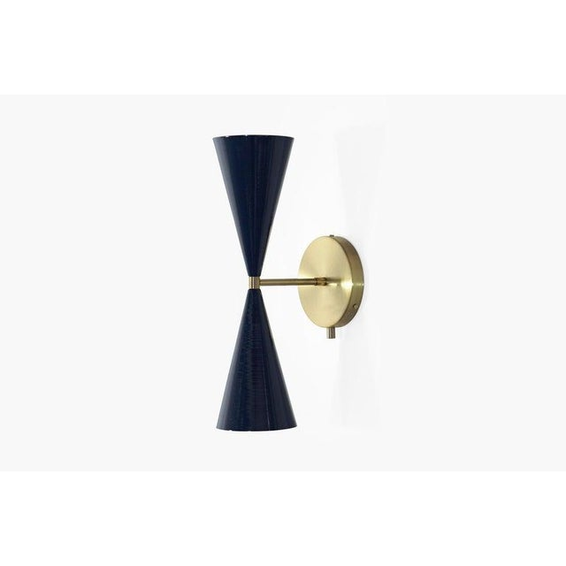 "Metal Brass & Midnight Enamel ""Tuxedo"" Wall Sconces - a Pair For Sale - Image 7 of 12"