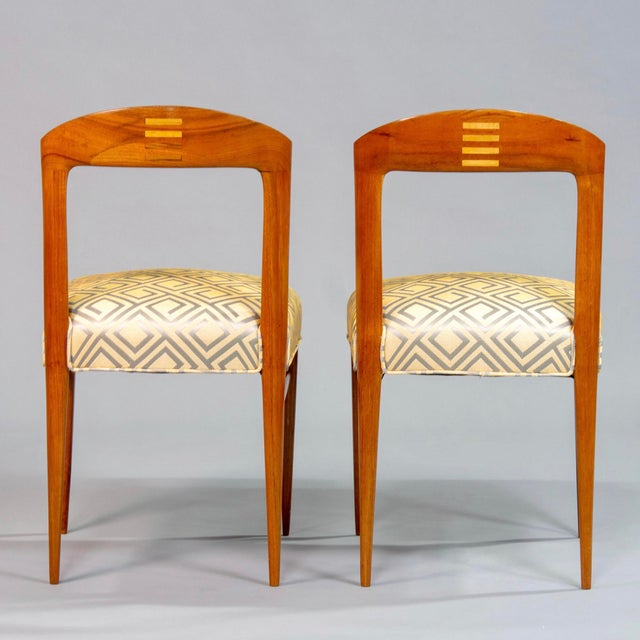 Set of Eight Art Deco Beech Chairs With New Upholstery For Sale - Image 9 of 12