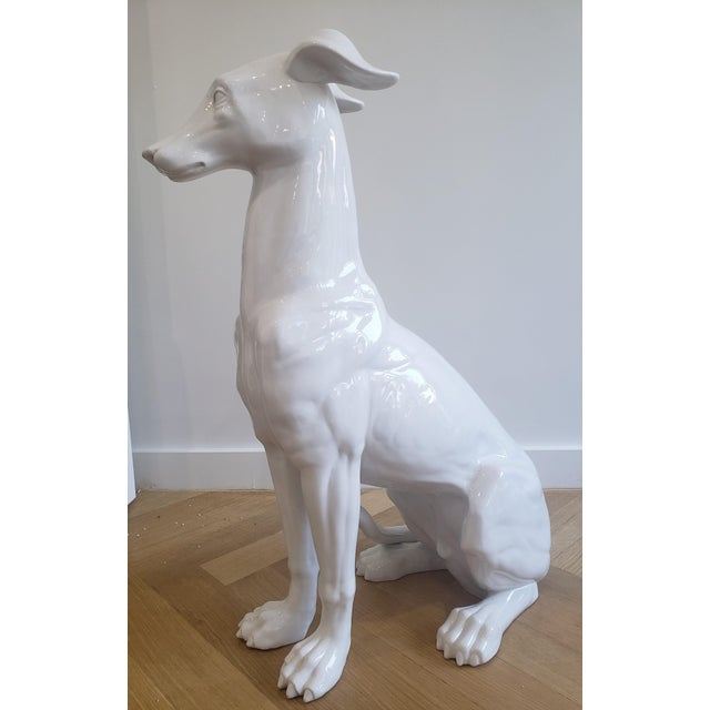 Mid-Century Hollywood Regency Style Glazed Ceramic Greyhound Whippet Statue For Sale - Image 4 of 12