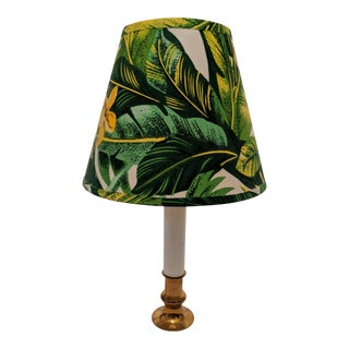 Candlestick Lamp With Green Palm Frond Shade For Sale