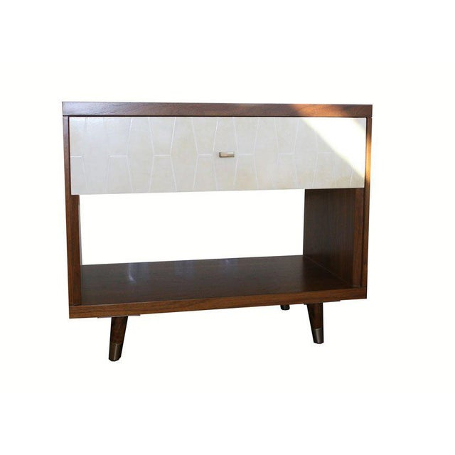 Customizable Francois Walnut and Parchment Nightstands For Sale In New York - Image 6 of 9