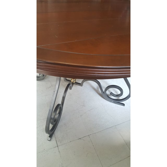Creative Metal Round Table With Extra Leaf For Sale - Image 11 of 12