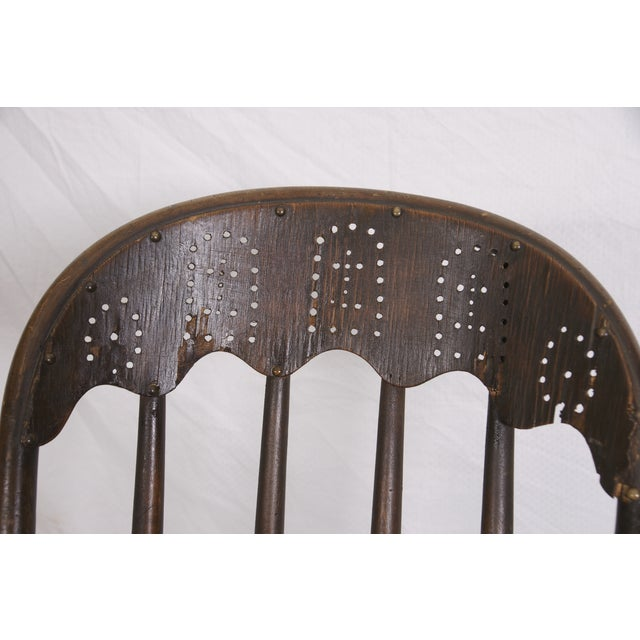 Windsor Chair Tooled Leather Seat Pierced Bib - Image 6 of 6