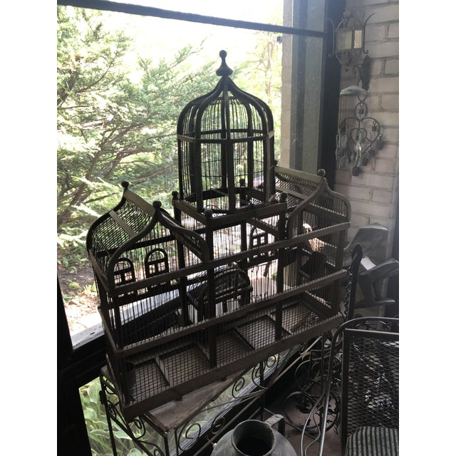 Late 19th Century Antique Victorian Iron Wire & Wood Mansion Style English Folk Art Bird Cage For Sale - Image 5 of 13