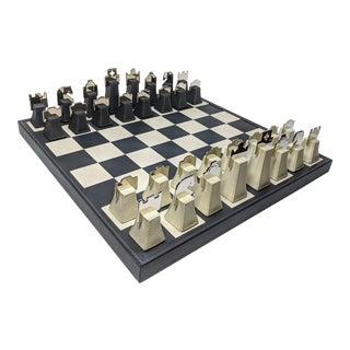Regency Italian Renzo Romagnoli Leather and Chrome Black and Cream Chess Set For Sale