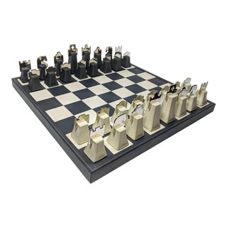 Renzo Romagnoli Italian Leather and Chrome Chess Set For Sale