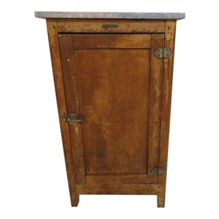 Vintage 1920s Oak Ice Box Refrigerator For Sale
