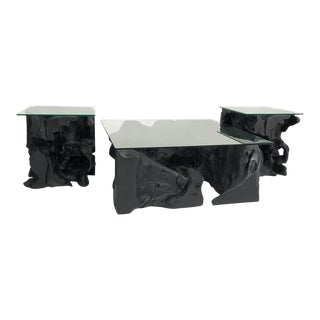 Black Coffee and Side Tables Set For Sale