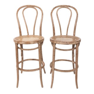 Mid 20th Century Bentwood Bar Stools - a Pair For Sale