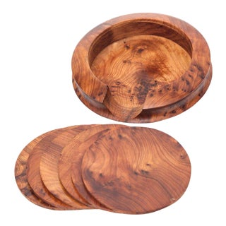 Handcrafted Thuya Wood Coasters - Set of 7 For Sale