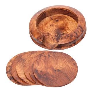 Handcrafted Thuya Wood Coasters - Set of 7