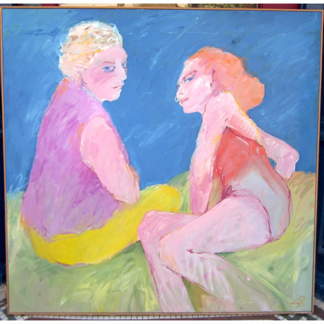 This is a bright and vibrant vintage oil on canvas painting by Chicago artist Suzanne Peters. Peters was prolific in the...