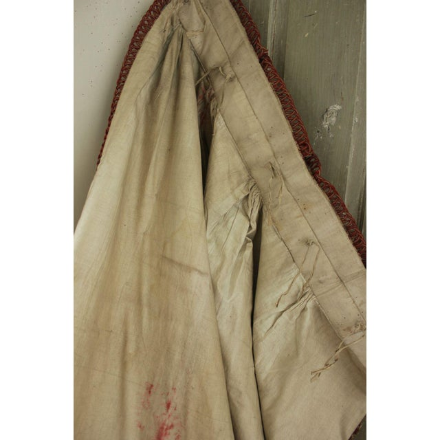 White Antique 1885 French Art & Crafts Woven Jacquard Bed Curtain Fabric For Sale - Image 8 of 10
