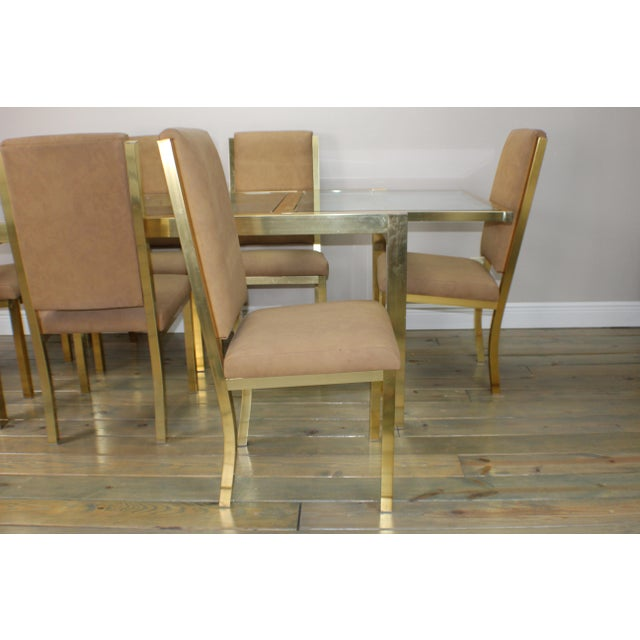 1990s Mid-Century Modern Brass Dining Table and Chairs - 7 Piece Set For Sale In West Palm - Image 6 of 11