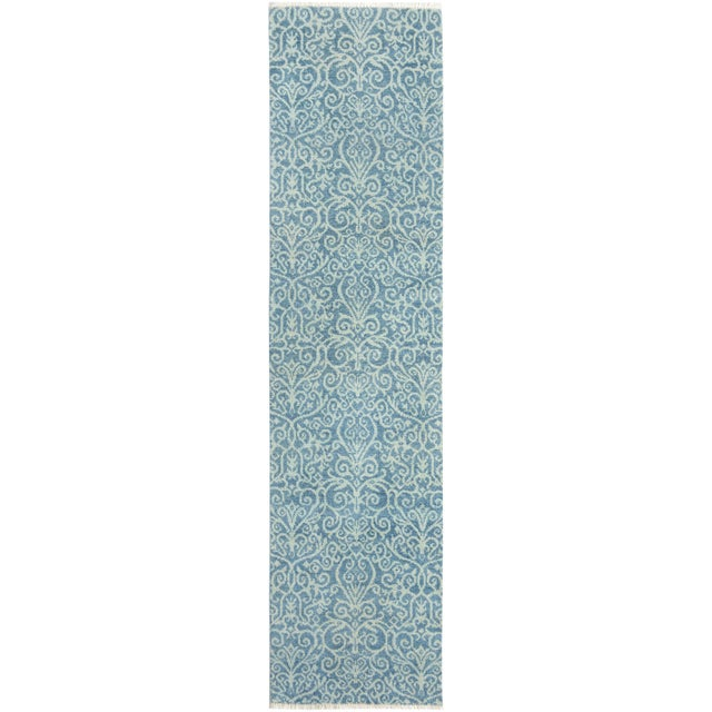 "Blue Kafkaz Peshawar Cyrena Lt. Blue/Lt. Green Wool Runner - 2'5"" X 9'9"" For Sale - Image 8 of 8"