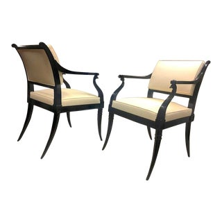 Maison Jansen Chicest Black Neoclassic Exceptional Pair of Armchairs