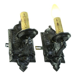 1920s Arts and Crafts Spanish Revival Hammered Wall Sconces - a Pair For Sale