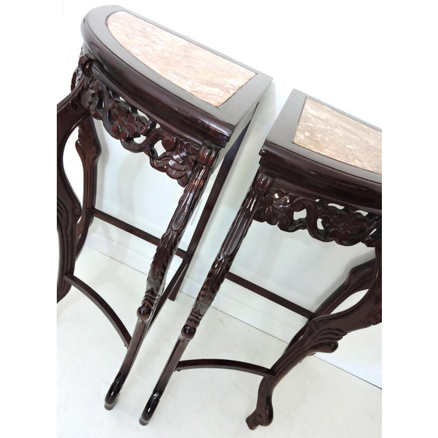 Pair of Italian Style Marble Top Corner Hallway Tables, Pedestals or Demi-Lune For Sale In Tampa - Image 6 of 7