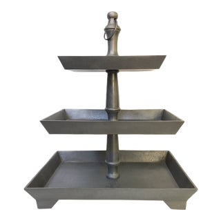 Restoration Hardware Grand Brasserie Cast Aluminum Tiered Rectangular Stand