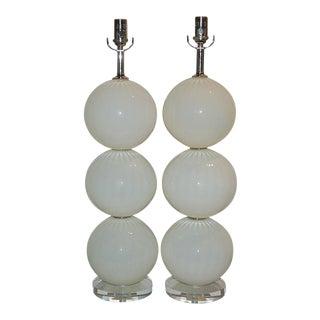 Joe Cariati Glass Lamps White For Sale