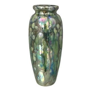Vintage Glazed Iridescent Ceramic Vase