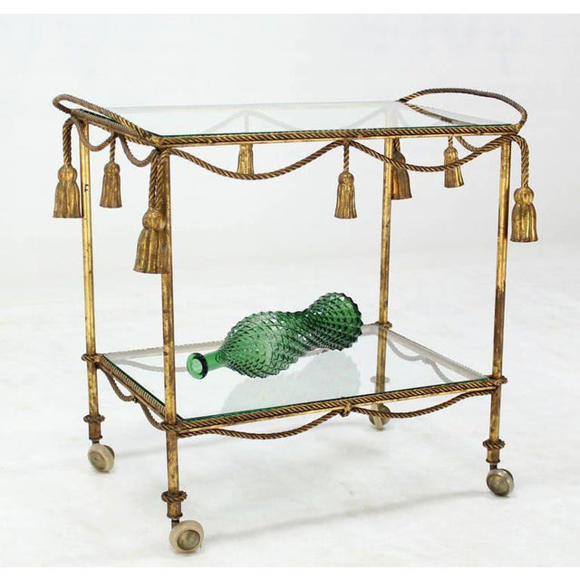 Midcentury Italian Gilt Metal Rope and Tassel Bar or Tea Cart For Sale - Image 9 of 10