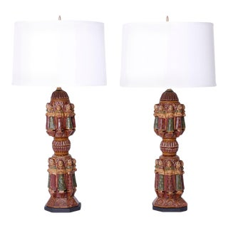 Antique Indian Carved and Painted Table Lamps from Antique Bed Posts - A Pair For Sale