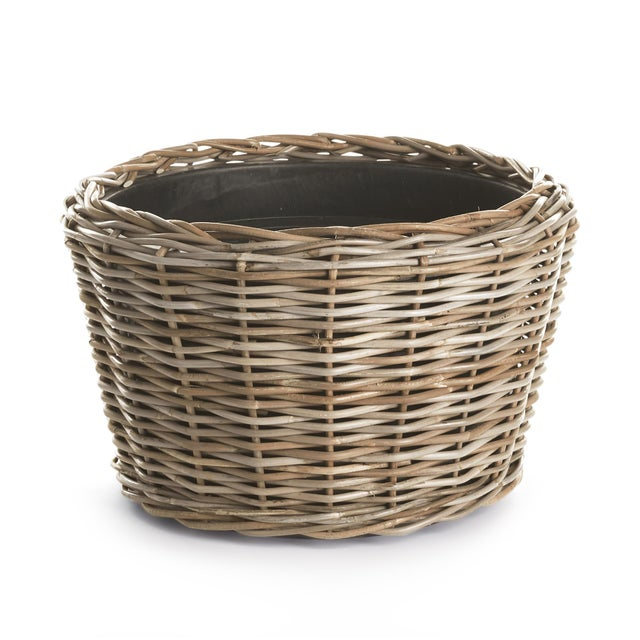"Rustic European Woven Dry Basket Planter 21.25"" For Sale - Image 3 of 3"