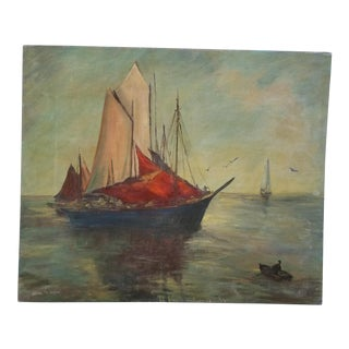 """Norway """"Fishing Fleet"""" Painting by Alice W. Wood For Sale"""