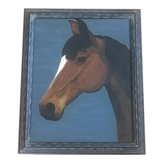 1990s Vintage Horse Head Painting For Sale