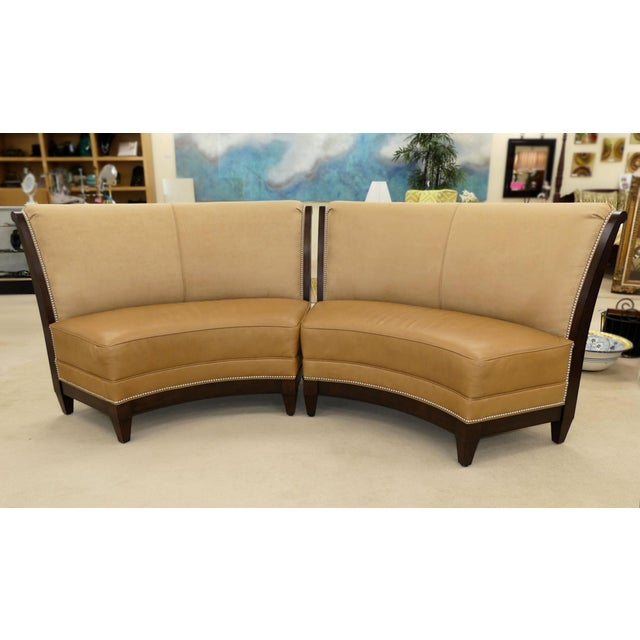 Stanford Furniture Leather & Suede Garrett Curved Dining Bench or Banquette- a Pair For Sale - Image 13 of 13