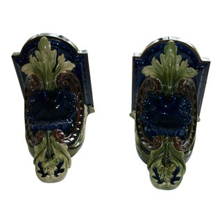 Majolica Style Corbels - A Pair For Sale