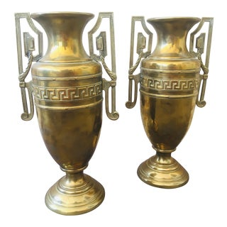 Greek Key Brass Vases - a Pair For Sale