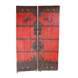 Old Red Mongolian Door For Sale