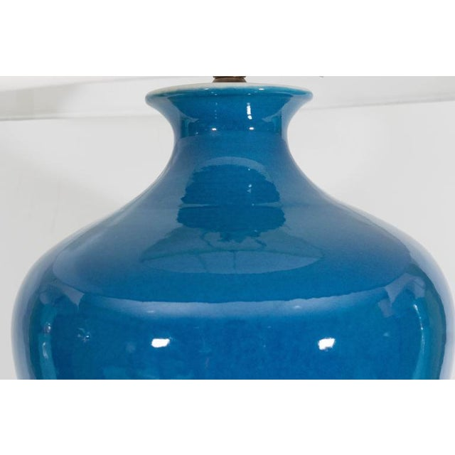 Large Blue Porcelain Lamp For Sale - Image 4 of 8