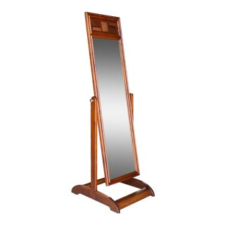 Mid-Century Modern Walnut Cheval Mirror For Sale