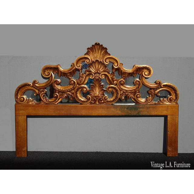 Vintage French Provincial Louis XVI Rococo Gold King Headboard Mirror & Scrolls For Sale - Image 13 of 13