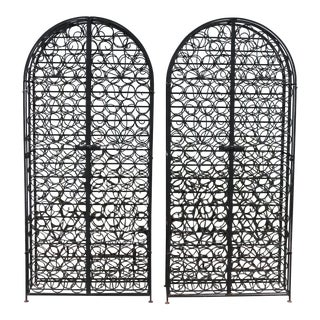 1980s Tall Wrought Iron Wine Racks - a Pair For Sale