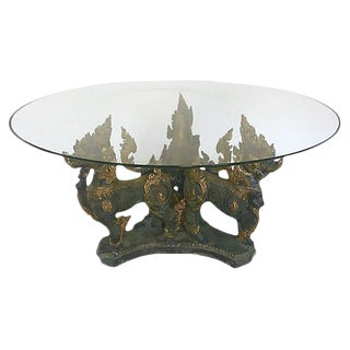 Thai Foo Lions Coffee Table With Glass Top