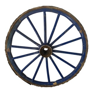 Antique Primitive Blue Wagon Wheel For Sale