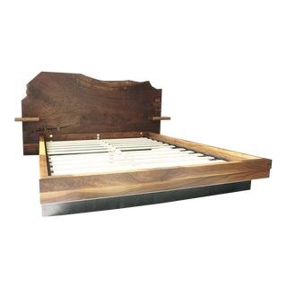 Slab Nº3 Modern Claro Walnut Slab Queen Bedframe by Ordinal Indicator For Sale