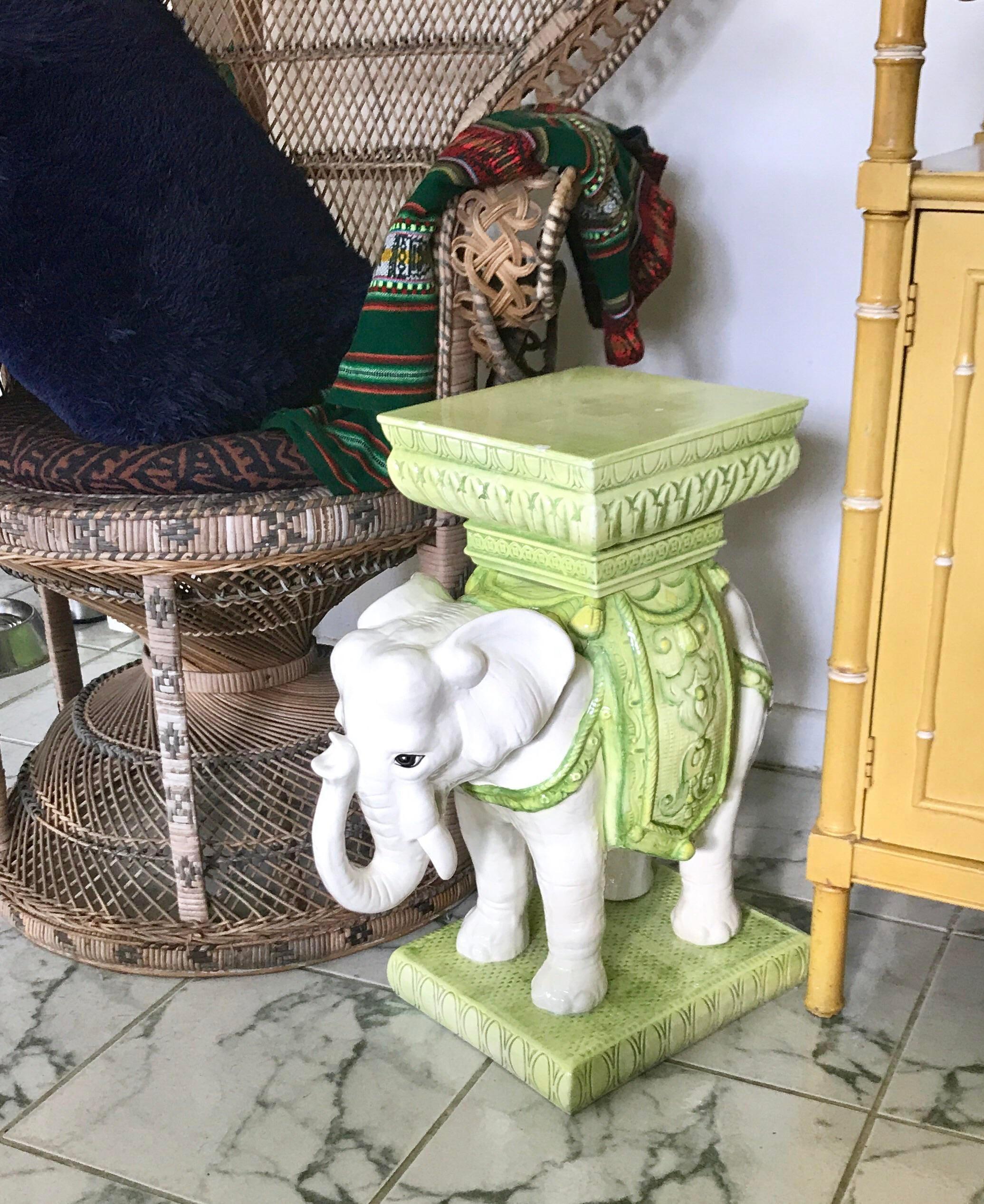 Vintage Bohemian Moroccan Style White And Green Glazed Ceramic Elephant  Garden Stool   Image 7