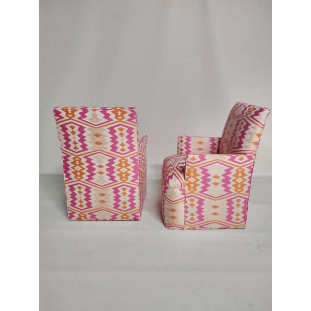 Wood 1920s Bright Geometric Arm Chairs - a Pair For Sale - Image 7 of 11