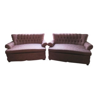 1960s Mid-Century Upholstered Loveseat Sofa Couch-A Pair For Sale