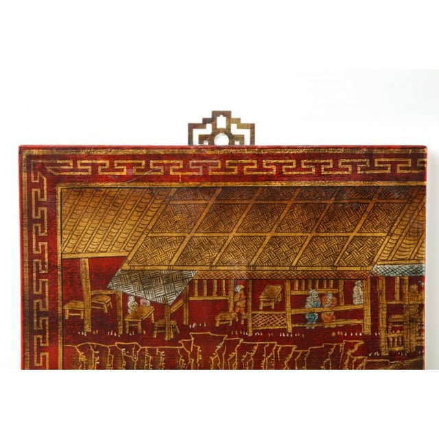 Paint Series of Six Red Lacquered Chinoiserie Panels For Sale - Image 7 of 11