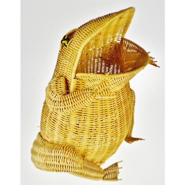 Pop Art Vintage Natural Wicker Frog Planter Basket For Sale - Image 3 of 13